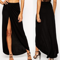Black Maxi Skirt with Thigh High Slit