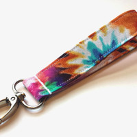 Tie Dye Fashion Fabric Wristlet Womens Tie Dye Accessories Girls Fashion Keychain or Key Fob Tie Die Keychain for Wrist TieDye Wrist Lanyard