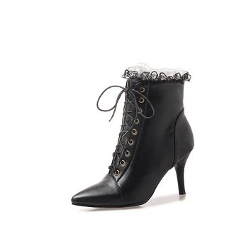 Pointed Toe Lace Up High Heel Ankle Boots Side Zipper 4169