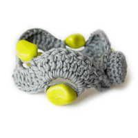 Gray Crocheted Bracelet with Chartreuse Glass Beads, Bohemian Knitted Jewelry, Boho Fiber Jewellery, Hippie, Green Yellow, Gift for Her