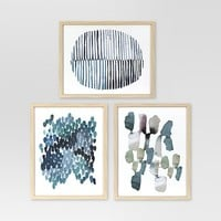 Framed Watercolor Blue Abstracts 16 x 20 3-Pack - Project 62™