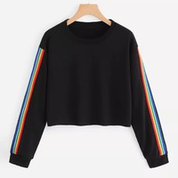 2018 Women Long Sleeve Rainbow  Fashion Patchwork O Neck Sweatshirt Casual Blouse Pullover Hoodie homens Tops Crop Blouse 30