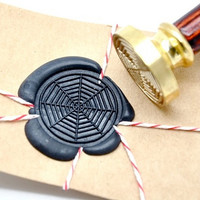 Spider Web Halloween Gold Plated Wax Seal Stamp x 1