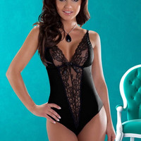 Black V-Neck Floral Lace Teddy
