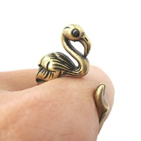 Realistic Flamingo Shaped Animal Wrap Ring in Brass | US Size 6 to 9