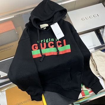 GUCCI Red and green letter printed logo couple Hoodie sweatshirt