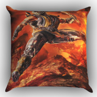 Mortal Kombat Scorpion Z0615 Zippered Pillows  Covers 16x16, 18x18, 20x20 Inches