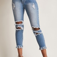 Distressed Capri Jeans