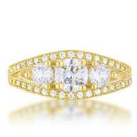 Geneviere Three Stone Gold Classic Engagement Ring | 2.2ct | Cubic Zirconia | 14k Gold