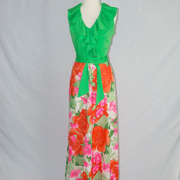 Vintage 70s Maxi Dress Green Ruffle Wrap Bodice and Floral Skirt