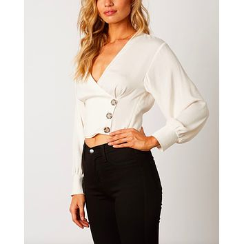 Cotton Candy LA - Cross Over Fitted Satin Top with Cuff Sleeves in Ivory