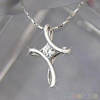 Silver White Plated Crystal Rhinestone Infinity Cross Necklace Pendant = 1646026820
