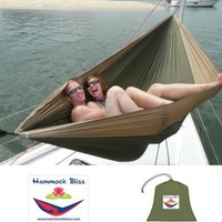 """Hammock Bliss Double - XL Portable Hammock - 100"""" Rope Per Side Included - Ideal For Camping, Backpacking, Kayaking & Travel"""
