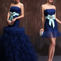 Strapless Dark Blue 2 piece Convertible Evening Dress Ball Gown and Cocktail Dress in One X007