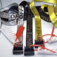 DCCK OFF-WHITE Tide OW Belt Men Women Pin Buckle Canvas 17ss Industrial Style Embroidery Yellow