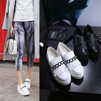 Leather England Style Chain Tassels Wedge Thick Crust Vans Shoes