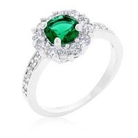 Belle Emerald Green Halo Engagement Cocktail Ring | 2.5ct