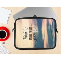 The Pastel Sunset You Cant Fly Unless You Let Yourself Fall Ink-Fuzed NeoPrene MacBook Laptop Sleeve