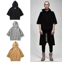 2017 TOP summer kanye west oversized hoodie hip hop mens clothing Fashion Casual short sleeve hoodies Black gray khaki M-XL