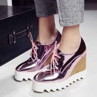 Bling Patent Leather Oxfords Wedge Shoes