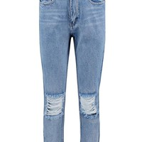 Light Blue Open Knee Boyfriend Jeans | Boohoo
