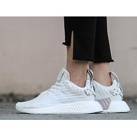 Adidas NMD R2 Primeknit All White BY2245 Boost Sport Running Shoes Classic Casual Shoes Sneakers