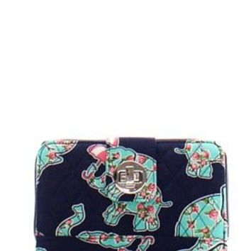 Quilted Wallet Elephant Print
