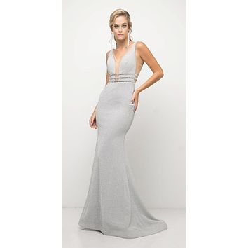 Fitted Stretch Silver Gown Beaded Belt Detail Deep Plunging Neckline