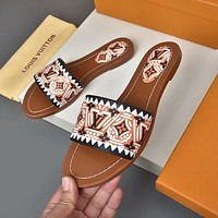 lv louis vuitton popular summer womens flats men slipper sandals shoes 123