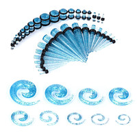 54PC Gauges Kit Ear Stretching 14G-00G Glitter Spiral Tapers Plugs Body Piercing Set