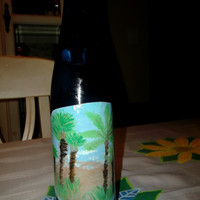 Beautiful Blue Reclaimed Upcycled Glass Wine Bottle with Original Palm Tree Ocean Art Work Label Painting Solar Garden Light Drinks Home