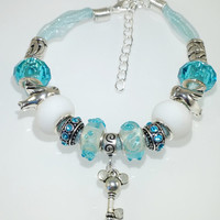 European Charm Bracelet Handmade Turquoise Blue Key lampwork murano glass bead leather and ribbon with Rhinestone & Tibetan silver charms