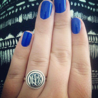 Sterling Silver monogram ring, maid of honor ring, mother day monogram ring, Mother's Day monogram jewelry