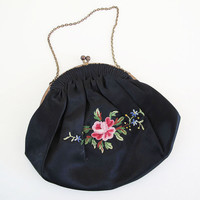 antique french silk embroidered purse by KatyBitsandPieces
