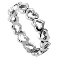Sterling Silver 4mm Wide Band Tiny Hollow Hearts Polish Finish Ring Size 7