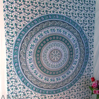 Small White Indian Elephants Barmeri printed Cotton Tapestry Wall Hanging Hippie Mandala Bedspread Throw Home Decor