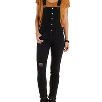 Black Distressed Denim Overalls by Refuge at Charlotte Russe