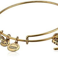 "Alex and Ani Bangle Bar ""Sacred Dove"" Gold-Color Charm Bracelet, 7.75"""