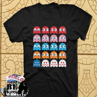 Ghost pacman TShirt Tee Shirts Black and White For Men and Women Unisex Size