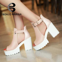 Big size 34-43 Women Gladiator Sandals Vintage Design Ankle Straps Open Toe Summer Shoes Thick High Heels Platform Sandals