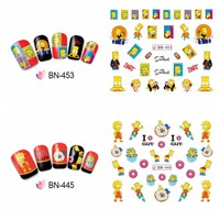 12 Sheets The Simpsons Decoration Nail Stickers Set for Children 2018 New The Simpsons toys Figures Homer Bart Sticker for Nail