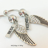 Belly ring, bellybutton jewelry with rhinestone wings and Best Friends charms