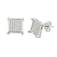 Sterling Silver Square Cubic Zirconia Stud Earrings Clear 4 Prongs 10mm