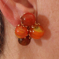 Orange Marble Earrings Vogue Persimmon Glass Handwired Gold Tone Vintage Estate 130530L
