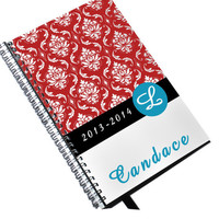 Red and Turquoise Damask Day Planner 2013 2014 Personalized and Monogrammed Teacher or Student Agenda