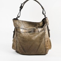 "Givenchy Dark Taupe Distressed Leather ""Moyen"" Shoulder Bag"
