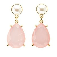 Lt Pink Pearl & Faceted Stone Drop Earrings by Charlotte Russe