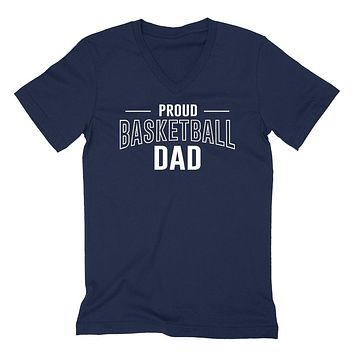 Proud basketball dad  team squad game day sport dad love basketball Father's day  V Neck T Shirt