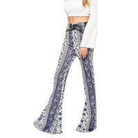 Women Pants Casual Elastic Waist Ankle Length Printed Stretch Long Flare Pants Plus Size Floral Classic Exuma Pant Sep13