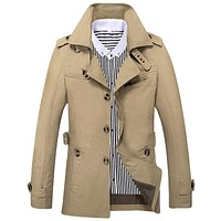 Wool Overcoat Thick Coats Casual Spring Outwear Military Jackets Man Cotton Mens Parka